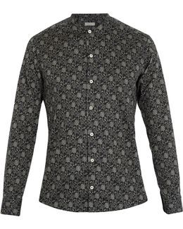 Forest-print Collarless Cotton Shirt