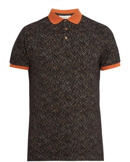 Chevron-print Cotton-piqué Polo-shirt
