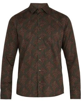 Paisley-print Single-cuff Cotton Shirt
