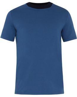 Ribbed-knit Neckline Cotton-jersey T-shirt