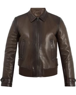 Zip-through Leather Bomber Jacket