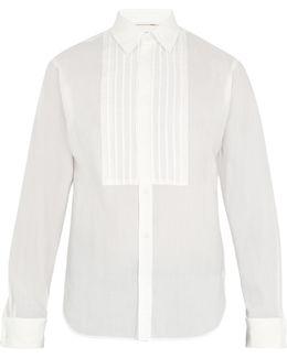 Jaden Double-cuff Pleated-bib Cotton Shirt