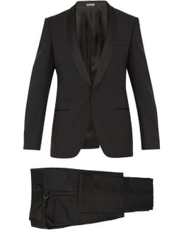 Shawl-collar Single-breasted Wool-blend Tuxedo
