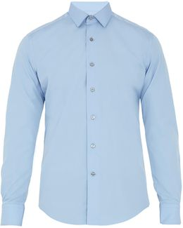 Single-cuff Spread-collar Cotton Shirt