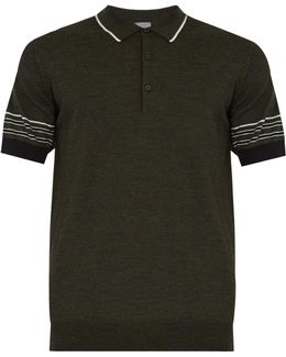 Striped-collar Wool Polo Shirt