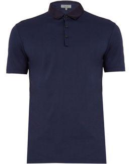 Contrast-collar Cotton Polo Shirt