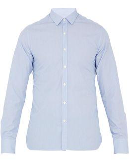 Single-cuff Spread-collar Striped Cotton Shirt