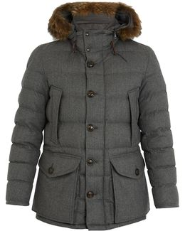Rethel Fur-trimmed Quilted-down Wool Coat