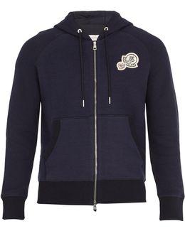Badge-appliqué Hooded Cotton-blend Sweatshirt