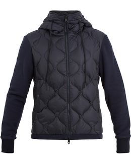 Hooded Contrast-panel Quilted Down Jacket
