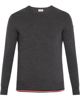 Extended-hem Crew-neck Wool Sweater