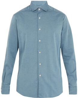 Point-collar Cotton-chambray Shirt