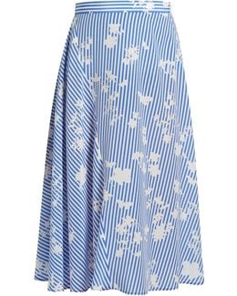 Sundew Stripe-print Fluted Midi Skirt