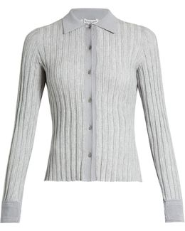 Campbell Point-collar Ribbed-knit Cardigan