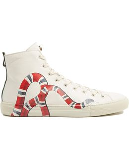 Major Snake-print High-top Leather Trainers