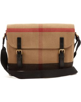 Checked Canvas Messenger Bag