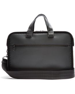 Intrecciato-trim Leather Briefcase