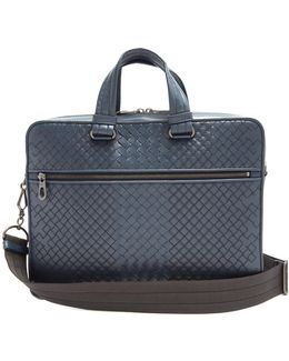 Intrecciato And Embroidered Leather Briefcase
