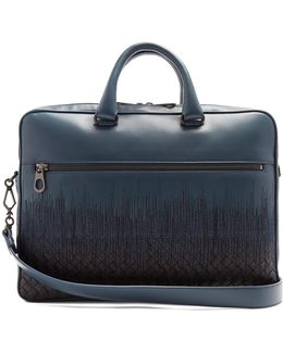 Skyline-embroidered Intrecciato Leather Briefcase