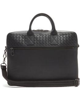 Intrecciato-woven Panel Leather Briefcase