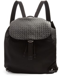 Canvas And Intrecciato Leather Backpack