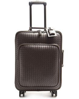 Intrecciato Leather Suitcase