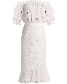 Grace Broderie-anglaise Off-the-shoulder Dress