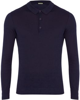 Long-sleeved Cotton-blend Polo Shirt