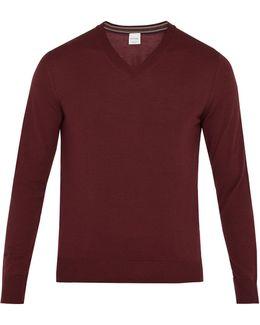V-neck Fine-knit Wool Sweater