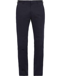 Slim-fit Cotton And Linen-blend Trousers