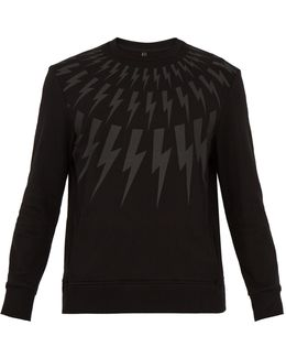 Lightning Bolt-print Cotton Sweatshirt