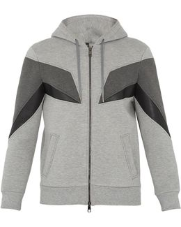 Geometric-panelled Zip-through Neoprene Sweatshirt