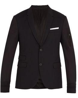 Contrast-sleeved Wool-blend Jacket