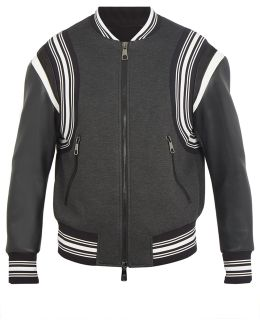 Faux-leather Sleeved Zip-through Bomber Jacket