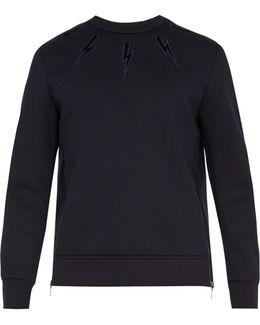 Lightning Bolt-appliqué Jersey Sweatshirt
