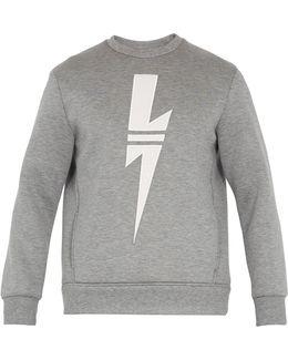 Lightning-bolt Appliqué Cotton Sweatshirt