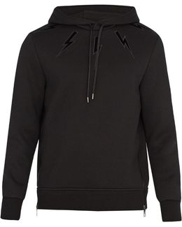 Lightning-bolt Embroidery Neoprene Sweatshirt