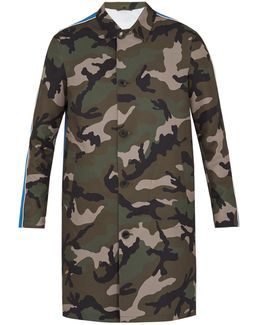 Camouflage-print Twill Trench Coat