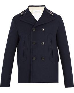 Rockstud Double-breasted Wool Pea Coat