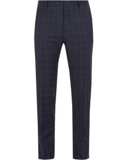 Checked Wool Slim-leg Trousers