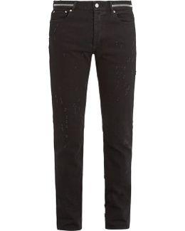 Zip-detail Distressed Slim-leg Jeans