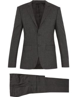 Micro-checked Wool-blend Suit