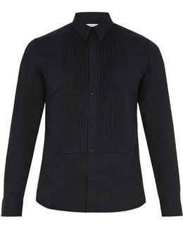 Single-cuff Bib-front Cotton Shirt