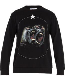 Monkey Brothers-print Cotton Sweatshirt