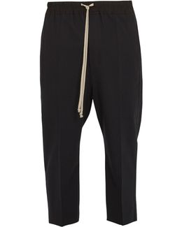 Dropped-crotch Wool-blend Cropped Trousers