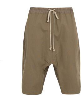 Dropped-crotch Cotton-gabardine Shorts