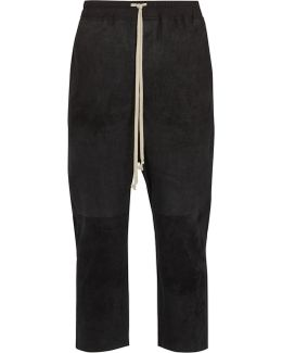 Dropped-crotch Leather Cropped Trousers
