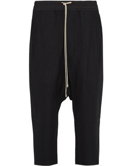 Dropped-crotch Twill Cropped Trousers