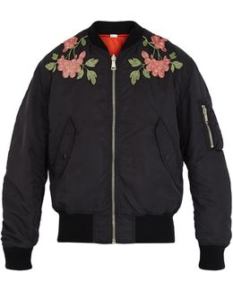 Floral-embroidered Reversible Bomber Jacket
