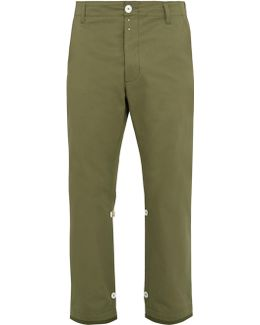 Straight-leg Cropped Cotton Trousers